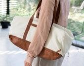 Vegan Leather Travel Duffle Bag in Brown and White Cream. Overnight Weekender Handbag, Ethical Handmade