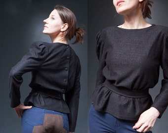 Woman  90s vintage black  blouse  top/ back buttoned  belt fitted waist  long sleeve top/ M