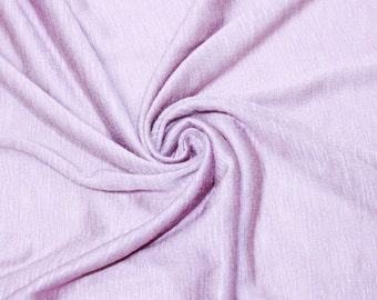 Lilac Pale Special Runway Slub Rayon Jersey Knit Fabric Lilac Runway Modal Knit Fabric, Apparel Dress Shirt Fabric - 1 Yard Style 13412