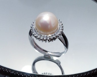 Blest Jewellery- Pearl Ring - AAA 10-11MM White Color Freshwater Pearl Ring, Cubic Zirconia With 925 Silver