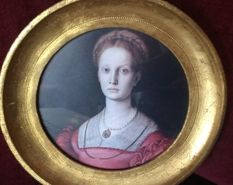 Country French Florentia Round Gold leaf young lady picture