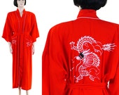 Vintage 1980s Women's Red Dragon Robe + Belt / Embroidered Dragon / White Dragon / Asian Robe / Long Dragon Robe