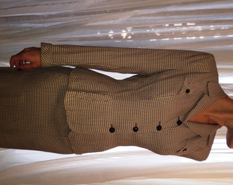 Vintage Greyish Violet and Pale Yellow Light Wool Houndstooth Suit, ca 1940s