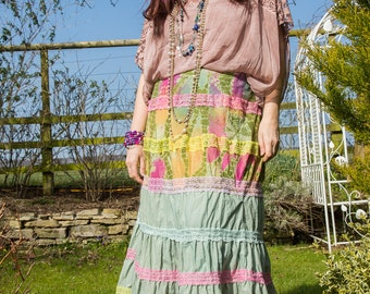 Spring Iris Gypsy Bohemian Shabby Chic Tiered Peasant Long Alternative Upcycled Festival Stevie Nicks Long Skirt