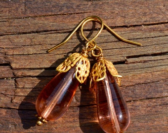 Light Peach colored Czech Glass and Gold Earrings