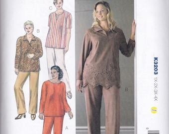 K3203 Kwik Sew Tunics and Pants Sewing Pattern Plus Sizes 1X-2X-3X-4X Kerstin Martensson