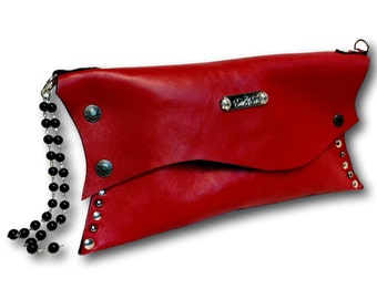 Handmade leather clutch (red)