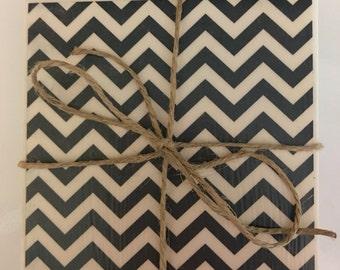 Black Chevron Tile Coasters..Set of 4..Gift