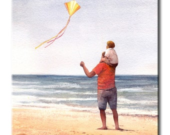 Father and Son Flying A Kite Art Tile Print on Ceramic with Hook or with Feet Indoor Use -Fishing, Gift for Men, Son