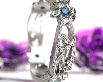 Art Nouveau Sterling Silver Floral Design Ring with Blue Sapphires, Made in Your Size CR-5018