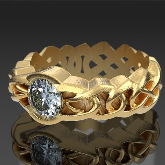 Gold Celtic Cut-Through Braided Infinity Knot Design with Moissanite Stone in 10K 14K 18K or Palladium, Made in Your Size Cr-1066c