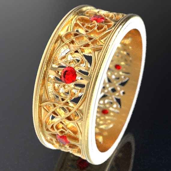 Gold Celtic Wedding Ring With Cut-Through Celtic Butterfly Design & Ruby Stones in 10K 14K 18K or Palladium, Made in Your Size Cr-1040