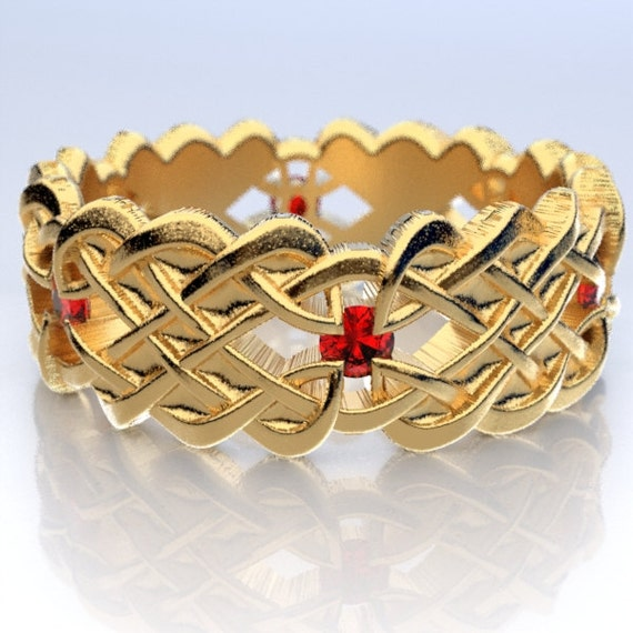 Gold Celtic Wedding Ring With Dara Knot Design & Ruby Stones in 10K 14K 18K or Palladium, Made in Your Size Cr-1043