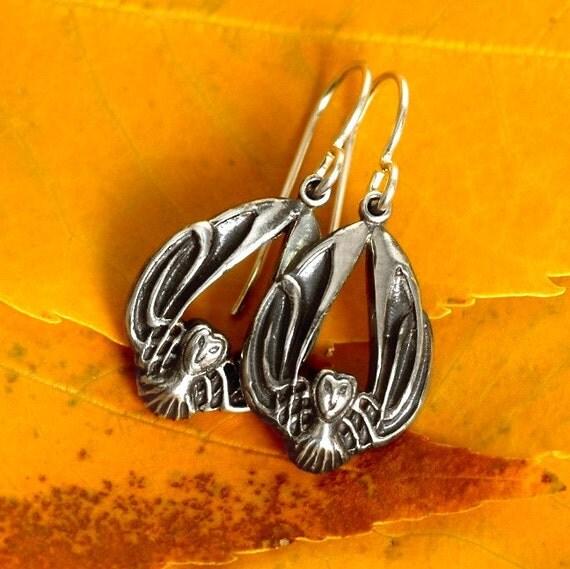 Silver Owl Earrings, Celtic Owl Earrings, Sterling Owl Jewelry, Barn Owl Wings, Harry Potter Earrings, Art Nouveau Owl, Owl Lover Gift