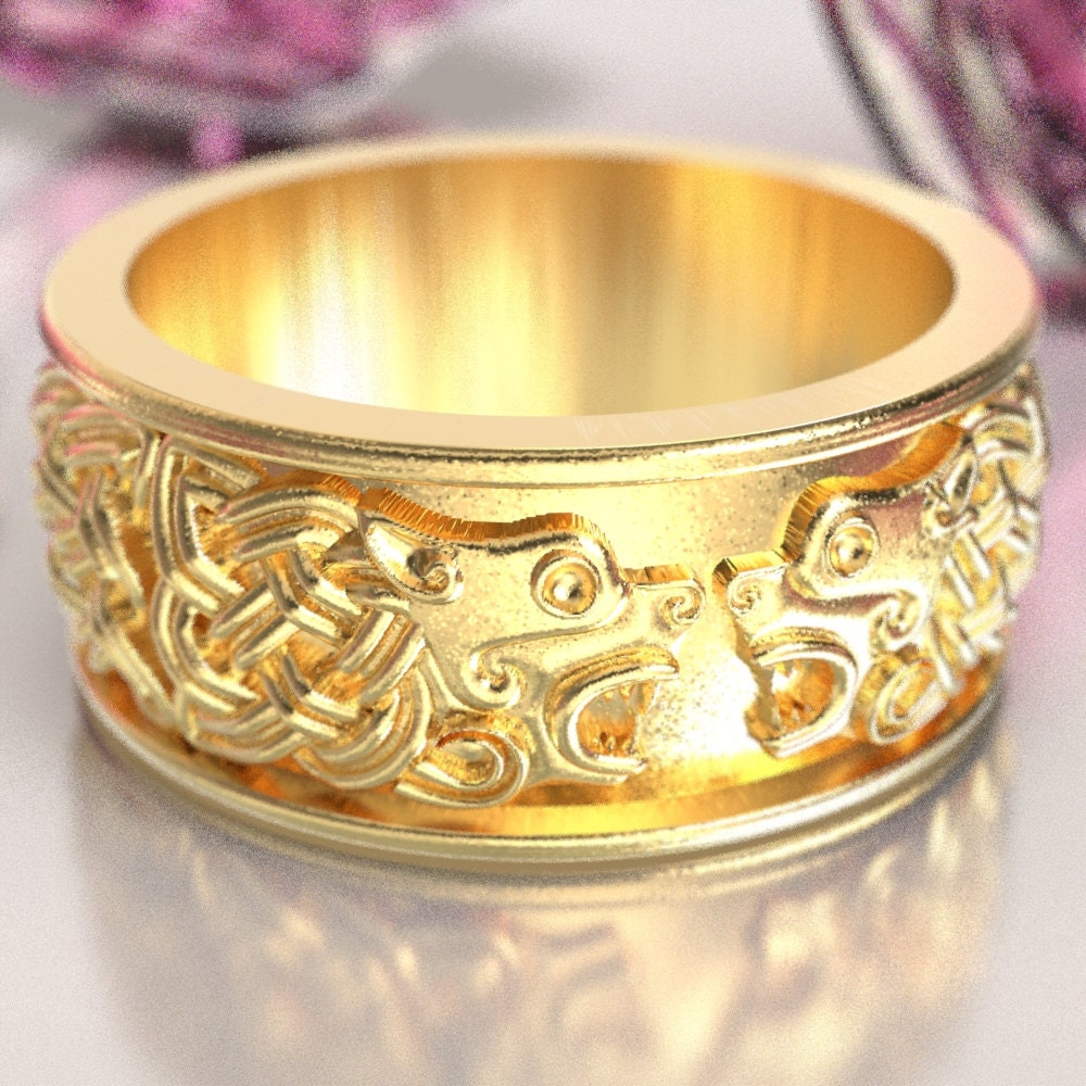 Celtic hound ring celtic dog wedding band hound jewelry for What is platinum jewelry made of