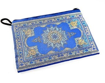 Olympian Blue Turquoise Metallic Gold Turkish Carpet Bag Purse - Alternative Jewelry Gift Packaging - No: 31 - 1 PC