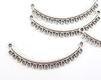 4 Looped Curve Bar Connector - Matte Silver Plated