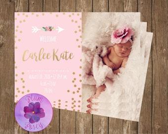 Pink & Gold Birth Announcement
