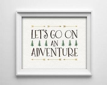 Nursery art - Printable - Let's go on an adventure - Baby shower gift - Horizontal Nursery Art - Kids Decor - Arrows - Trees - SKU:3921