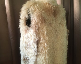 Vintage 1970s Mongolian Lamb Fur Gilet Vest Cream White Curly Shearling Shaggy Oversized Long Glam Dress Vest Jacket Coat M L