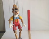 50 year old wooden puppet, boy, fully functional