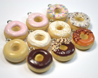 Assorted Donut Charms - Kawaii Miniature Food Polymer Clay