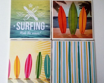 Surfing Coasters, Surfing, Set of 4 Ceramic Tile Coasters, Beach Decor, Unique Christmas Gift