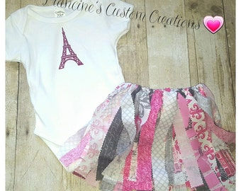 12-18month Paris Themed Outfit with Fabric Strip Skirt