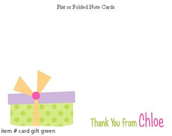 Green Party Gift Personalized Note cards Stationery Set of 10 flat or folded notecards
