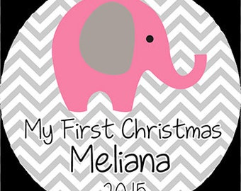 Pink Elephant Gray Chevron First Christmas Personalized Acrylic Ornament