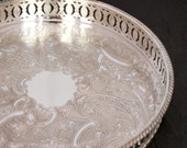 Vintage Silver Plated Tray, Round Gallery Serving Tray, Silver Drinks Tray, Silver Coffee Table Tray, Chased English Silver Butlers Tray