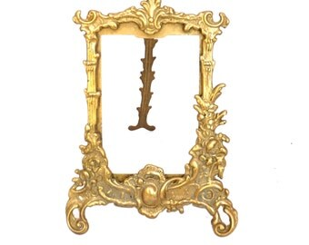 Brass Photo Frame, Art Nouveau Frame, Baroque Gold Photo Frame, Ornate Antique French Brass Picture Frame, Free Standing Frame
