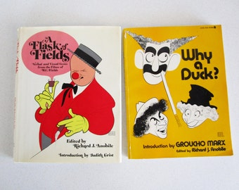 Old Hollywood Black & White Film Stars Books Set of Two Marx Brothers W. C. Fields 1972 Photos Information Silent Films