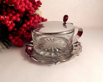 Silver Metal Covered Jam Dish Ornate Glass Sauce Serving Bowl Vintage Tableware Formal Dining