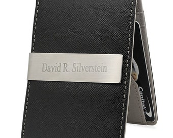 Personalized Mens Slim Money Clip Wallet Card Holder - Free Engraving