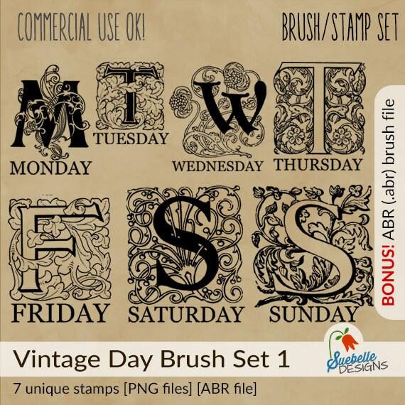 Photoshop Brush Stamp Set • Vintage Day Brush Stamp Set 1 • 7 Unique Brushes • ABR Photoshop File