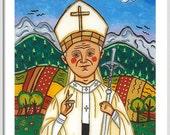 Pope John Paul II print Saint John Paul II print St John Paul II print First communion gift Catholic wall art Patron saint Catholic prints