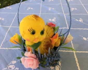 Yellow Chick in Blue Flower Basket, Plastic, Spring, Easter
