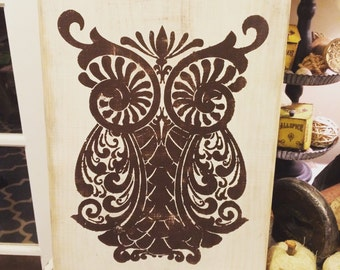 Distressed painted owl sign