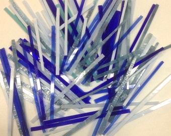 BLUE Mixed Strips of Glass from stained Glass Shop for Mosaic work or art project in glass 1.5 Lbs
