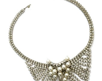 Rhinestone and Faux Pearl Necklace Vintage Bridal, Wedding, Special Occasion