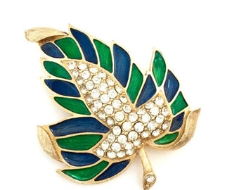Weiss Leaf Brooch, Enamel and Rhinestone Brooch, Sapphire Blue and Emerald Green Enamel, Pave Ice Crystal, Dimensional, Designer Signed