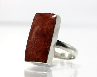 Vintage Sterling Silver Coral Ring Size 6.75