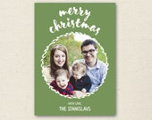Merry Christmas Photo Card - Holiday Photo Card Template - Greeting Card - Personalized Christmas Card