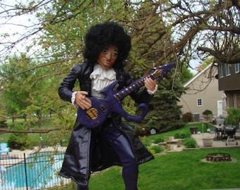 Prince the artist purple rain mixed-medium art doll