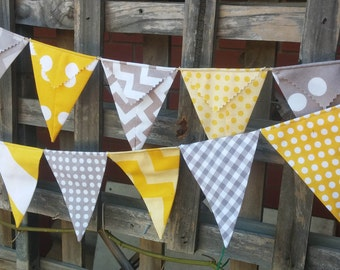 Bunting, flags or banner for bedroom, garden, birthday yellows and grey Riley Blake fabric