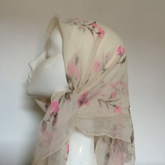 vintage Liberty of London 1950s silk chiffon scarf pink floral print 50s rockabilly headscarf crepe silk chiffon neckerchief cream square