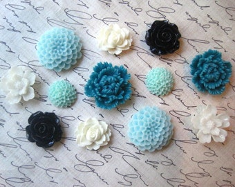 Pretty Magnets, 12 pc Flower Magnets, White, Aqua, Teal and Navy Blue, Strong Magnets, Kitchen Decor, Housewarming Gift, Wedding Favor