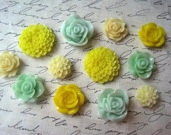 12 pc Magnet Set, Fridge Magnets in Yellow, Mint Green and Cream, Kitchen Decor, Office Decor, Locker Magnet, Hostess Gifts, Wedding Favors