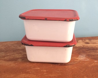 Vintage Metal Canisters, Set of 2